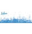 Outline Lisbon city skyline with blue buildings vector image