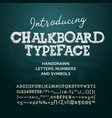 Chalkboard typeface letters and numbers vector image
