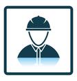 Icon of construction worker head in helmet vector image