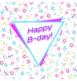 abstract happy birthday background memphis style vector image
