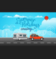 car on the way summer holidays coming vector image