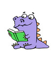 happy purple dragon sits and reads a book with vector image