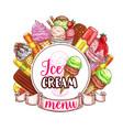 Ice cream menu template vector image