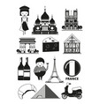 monochrome of french landmarks vector image