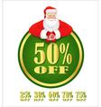 Santa Claus green discount label vector image
