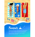 summer flyer design with family lying on beach vector image