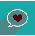 flat icon with long shadow thinking cloud heart vector image