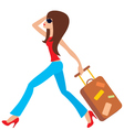 young woman runs with a suitcase vector image vector image
