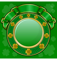 circle frame from shamrock with ribbon for st patr vector image