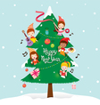 Children And Decorations On New Year Tree vector image
