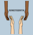 hands together to celebrate freedom day vector image
