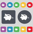 Piggy bank icon sign A set of 12 colored buttons vector image