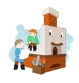 with happy and cheerful russian oven vector image