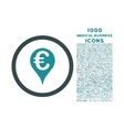 Euro Bank Map Pointer Rounded Icon with 1000 Bonus vector image