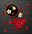 red rose petals valentines card background vector image