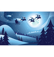 Flying Santa and Winter Forest vector image