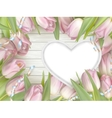 Pink tulips and heart frame EPS 10 vector image