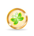 Golden circle label button with butterfly vector image