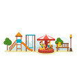 Kids have fun in amusement park ride on carousel vector image