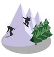 Mountain jumping skiing and snowboard vector image