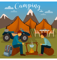 Summer Camp Man and Woman sitting by Fireplace vector image