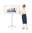 woman dressed in business clothes holding pointer vector image
