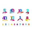 set of anniversary numbers design 5 60 vector image