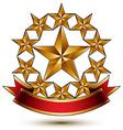 Glamorous template with pentagonal golden stars vector image