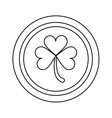 saint patrick day coin shamrock icon outline vector image