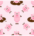 seamless pattern with cute cartoon pink pigs vector image vector image