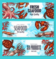 seafood and fish sea product banners vector image vector image