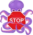 An octopus with a stop sign vector image