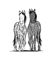 Couple of horses with floral ornament for your vector image vector image
