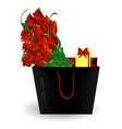 bag gift and roses vector image