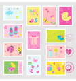 Baby Girl Stamps Design Elements vector image