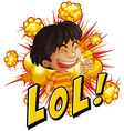 Little boy with wording laugh out loud vector image vector image