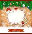 christmas background with label hat and baubles vector image