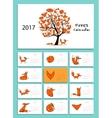 Funny foxes Design calendar 2017 vector image