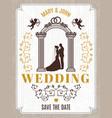 retro poster or wedding card invitation vector image