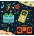 Set of musical and space elements vector image