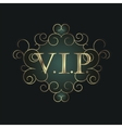 Vip symbol in scroll frame vector image