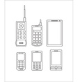 phone evolution icons linear Communication vector image
