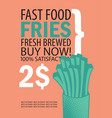 banner with fries on orange background vector image