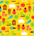 seamless pattern of spring symbols and vector image