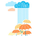 rain background with clouds and umbrellas vector image vector image