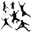 isolated silhouettes of kids jumping vector image vector image