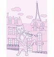 Cat the Violinist in Pink Paris vector image
