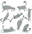 Cute doodle cats set vector image