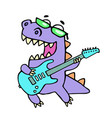 happy dragon playing the electric guitar in black vector image