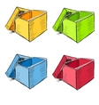 Open box in many colors set vector image